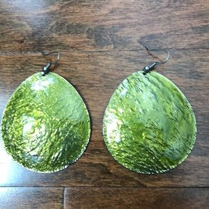 NWOT green and silver earrings